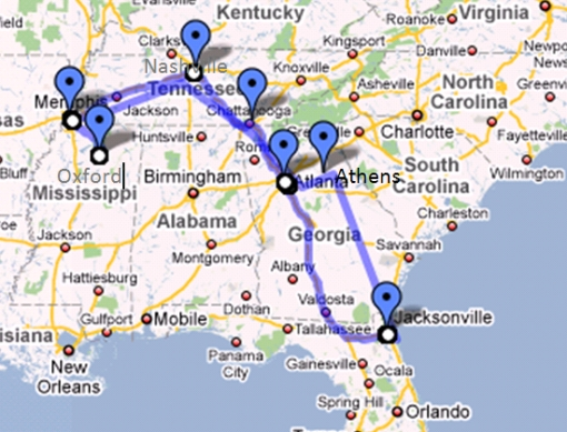 Fall Road Trip Route 2009