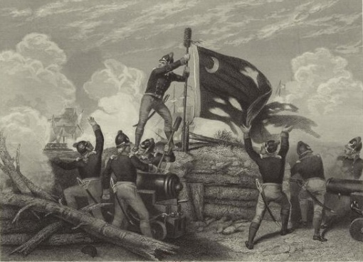 Moultrie's Liberty Flag being raised during the Revolutionary War.